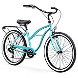 sixthreezero Around The Block Women's 7-Speed Speed Cruiser Bicycle, Teal Blue w/ Black Seat/Grips, 26' Wheels/17' Frame