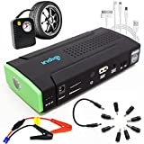 inDigi 12800mAh 3-in-1 Multi-Function Heavy Duty Portable Power Bank Car Jump Starter Flat Tire Air Pump Air Compressors & Inflators