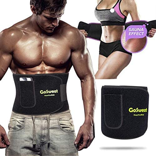 GoSweat Waist Sweat Trainer with Pocket, Plus Size Trimmer Belt for Women & Men, Slimming Band, Belly Wrap for Weight Loss, Stomach Fat Burner, Workout 1