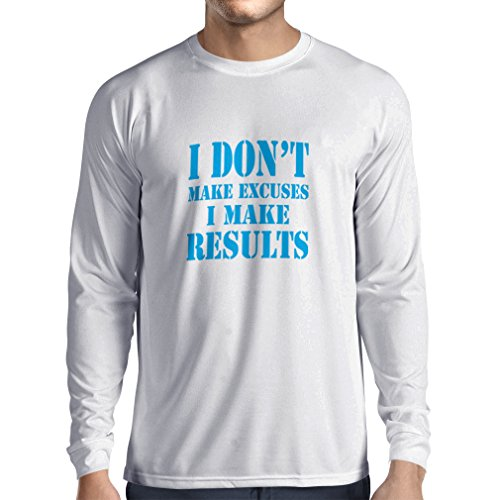Long Sleeve t Shirt Men I Make Results - Lose Weight Fast Quotes and Muscle Builder Motivational Sayings (Large White Blue)