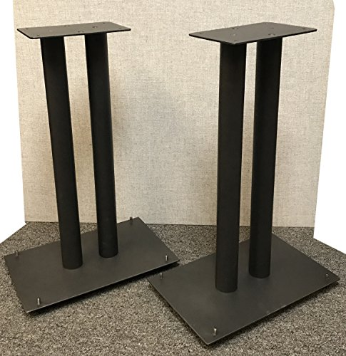 "Vega A/V Systems 24"" Heavy Duty, Steel Speaker Stands   Fillable   For Klipsch Bookshelf Speakers   Set of 2   Steel Carpet Spikes   10"" x 16"" 4mm Steel Base, 6"" x 9"" Speaker Pedestal   Black"