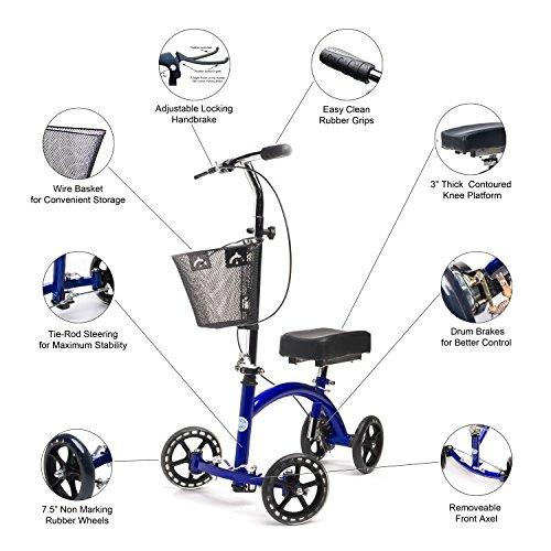KneeRover Deluxe Steerable Knee Cycle Knee Walker  Scooter Crutch Different in Blue deal 50% off 51k2uv6UqjL
