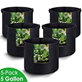 MAXSISUN 5-Pack 5 Gallon Plant Grow Bags, Heavy Duty Thickened Non-Woven Aeration Fabric Pots Container with Reinforced Handles for Gardening