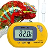 Reptile Digital Thermometer - Waterproof Sensor Probe Monitors Temperature Accurately - Easy to Read Display - Includes Replaceable Batteries - Dual Temperature Reading in Fahrenheit and Celsius