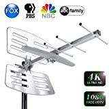【2019 Upgraded】 TV Antenna Outdoor, Amplified Digital HDTV Antenna with Mounting Pole, 150+ Miles Range, Support 2 TVs, Amplifier Signal Booster, 33 FT Coax Cable