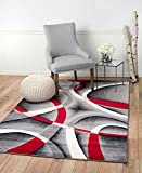 Summit US-KV2R-PKDG ST34 Area Rug Black Red Gray Modern Abstract Many Sizes Available  (7'.4'' X 6''), 8 X 11 ACTUAL IS 7'.4'' X 10'.6''