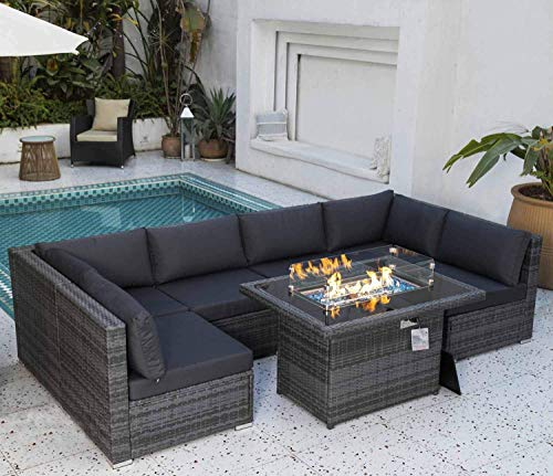 Nicesoul 118 7 L Pe Rattan Patio, Rattan Garden Furniture Set With Fire Pit Table