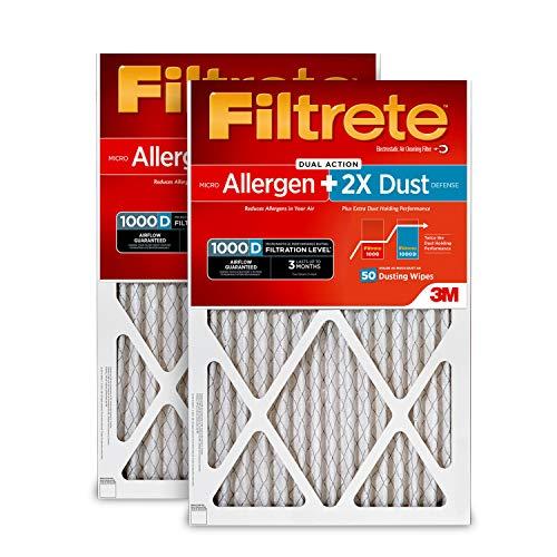 Filtrete 16x25x1, AC Furnace Air Filter, MPR 1000D, Micro Allergen PLUS DUST, 2-Pack