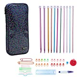 Teamoy Aluminum Tunisian Crochet Hooks Set, Afghan Kits with Case, 11pcs 2mm to 8mm Afghan Hooks and Accessories, Compact and Easy to Carry, Colorful Dots