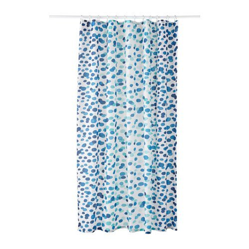 Ikea Skorren Shower Curtain White Blue 203.391.80