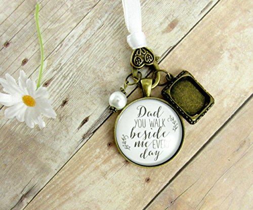 Bridal bouquet photo charm dad you walk beside me every day white bridal aloadofball Image collections