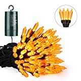 Orange Halloween Lights, 39ft 100 LED Battery Operated Halloween String Lights Waterproof with 8 Modes & Automatic Timer for Halloween Decorations