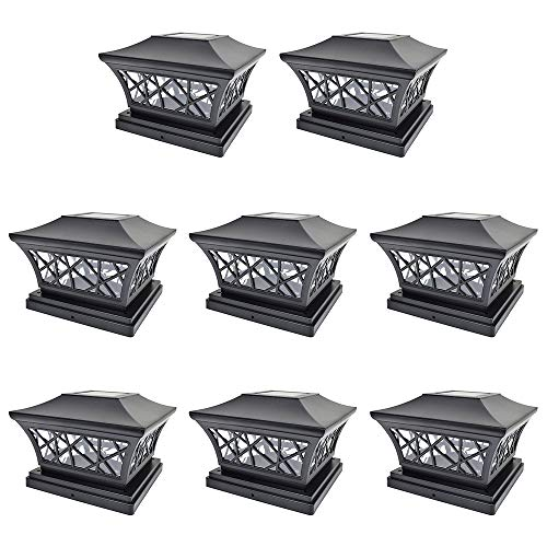 iGlow 8 Pack Black 6 x 6 Solar Post Light SMD LED Deck Cap Square Fence Outdoor Garden Landscape PVC Vinyl Wood