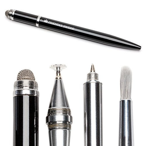 The Friendly Swede Stylus Pen 4-in-1 with Replaceable Brush, Capacitive Fiber Tip, Fine Point Disc Stylus Tip and Ballpoint in Gift Box (Black)