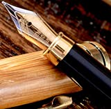 MONAGGIO Gorgeous Bamboo Fountain Pen Made of Luxury Wood with Refillable Converter, Beautiful Case Set and Medium Nib Point. Works Smoothly with Disposable Cartridges. Fine Calligraphy Pens