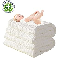 100% Medical Cotton Grade Natural Antibacterial,Water Absorbent,Super Soft Cotton Gauze,suitable for baby's delicate skin,Newborn Muslin Cotton Warm Baby Bath Towels Also for Baby Blanket -1 pcs