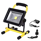 LTE LED Rechargeable Work Light 20W 1600LM Portable Outdoor Flood Light Waterproof Camping Security Lights 6000K IP65 (20W-Yellow)