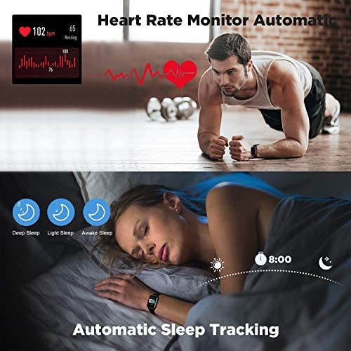 2020 CEGAR Fitness Tracker, Smart Watch with Heart Rate, Ip68 Waterproof Bluetooth Smartwatch for Android iOS Phone, Sleep Tracking Calorie Counter,Pedometer for Women Men (Black) 7