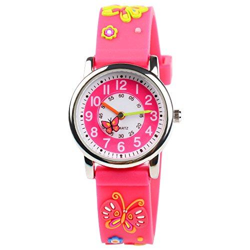 Venhoo Kids Watches 3D Cute Cartoon Waterproof Silicone Children Toddler Wrist Watches Time Teacher Gift for Girls Little Child (Pink Butterfly)