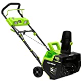 Earthwise SN74018 Cordless Electric 40-Volt 4Ah Brushless Motor, 18-Inch Snow Thrower, 500lbs/Minute, With LED spotlight (Battery and Charger Included)