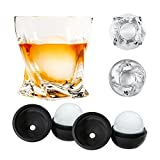Atlas&Co Premium Whiskey Glasses with ADD-ON Ice Ball Molds - Set of 2 - Gift Set Cocktail Glasses for Bourbon, Irish Whisky, Scotch or, High-Clarity Crystal Glasses