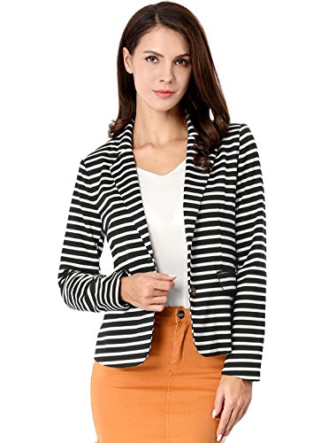 Allegra K Women's Notched Lapel Pocket Button Closure Striped Blazer 14 Fashion Online Shop gifts for her gifts for him womens full figure