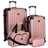 Travelers Club Luggage 4 Piece Luggage Set, Rose Gold, 4 PC