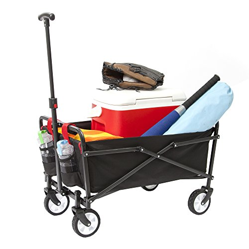 YSC Wagon Garden Folding Utility Shopping Cart,Beach (Black)