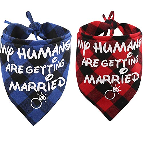 KZHAREEN 2 Pack My Humans are Getting Married Dog Bandana Printing Plaid Wedding Reversible Triangle Bibs Scarf Accessories for Dogs Cats 1