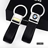 Cadtealir Highlight Stainless Steel Metal tab Lock bucle Inlaid with 18k Golden chip with Full Grain Nappa Leather Strap car Key Chain Lanyard Clips Ring for BMW for Men Woman Accessories