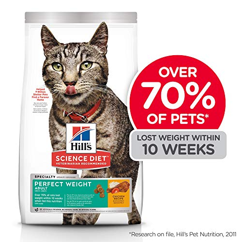 Hill's Science Diet Dry Cat Food, Adult, Perfect Weight for Healthy Weight & Weight Management, Chicken Recipe, 15 lb Bag