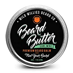 Beard Balm Conditioner For Men -Wild Willie's Beard Butter-Amazing Beard Balm with 13 Natural Locally Sourced Ingredients to Condition and Treat Your Beard or Mustache At the Same Time. Cool Mint 2oz  Image