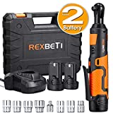 "REXBETI Cordless 3/8"" Electric Ratchet Wrench Set with Double 12V Lithium-Ion Battery,1 Quick Charger Kit, 7-piece 3/8"" Metric Sockets and 1-piece 1/4"" Socket Adapter, 38ft-lbs of Maximum Torque"