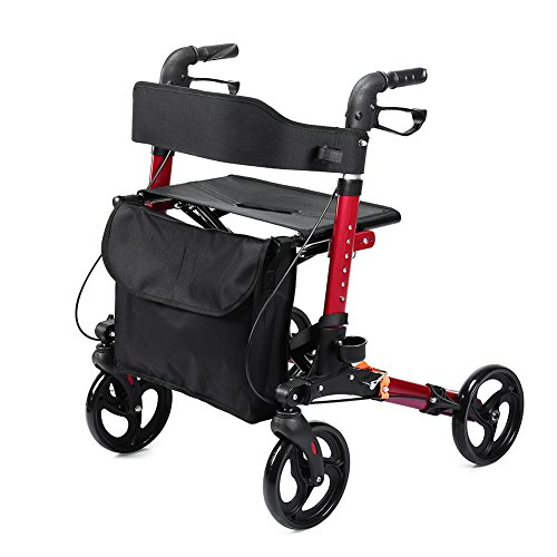 ELENKER Medical Rollator Walker, Foldable Stable Compact Rolling Walker with Seat, Bag and 8 inch Wheels Red