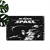 Anzhutwelve Astronaut,Indoor Floor Mats The Race to Space Retro Image with Space Crafts Planets Astronaut vs Cosmonauts 36'x42',Modern Doormat