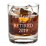 The Legend Has Retired - Funny Retirement Gag Gift Idea for Women or Men - Happy Retirement Gifts For Office Coworkers, Him, Her - 11 oz Bourbon Scotch Whiskey Glass