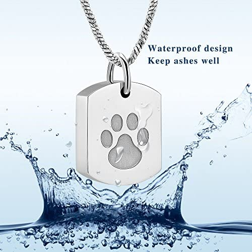 Minicremation Cremation Jewelry Urn Necklace for Ashes for Pet, Paw Print Memorial Ash Jewelry, Keepsake Pendant for Pet's Cat Dog's Ashes with Filling Kit 6