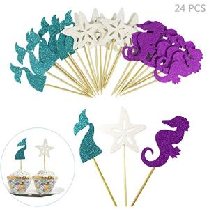 Juland 24 PCS Happy Birthday Cake Topper Paper Cupcake Topper Durable Versatile Cake Topper Birthday Party Cake Supplies Decorations for Adults Kids- Starfish Mermaid Tail Seahorse 51kOW 2BBTsML