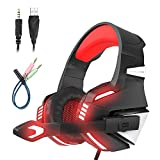 Mengshen Over Ear Gaming Headset with Microphone, Noise Isolation, Volume Control, LED Light - Compatible with PS4 Laptop PC Mac Computer Smartphones - G7500 Red
