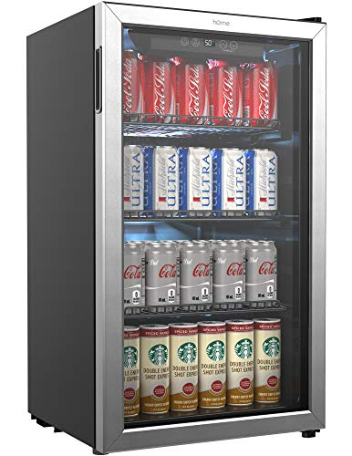 hOmeLabs Beverage Refrigerator and Cooler - 120 Can Mini Fridge with Glass Door for Soda Beer or Wine - Small Drink Dispenser Machine for Office or Bar with Adjustable Removable Shelves