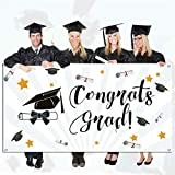 Weite Congrats Grad Graduation Party Banner Photography Backdrops, 78''x45'' Photographic Studio Photo Props Selfie Backdrop for Graduation Party Supplies 2019 Decorations (Multicolor)