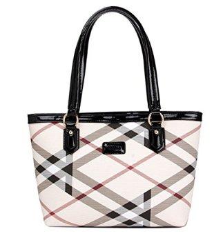 Image result for Lady Womens Designer Stylish Grid Top-Handle Handbag Leather Check Shopping Tote Shoulder Bag