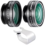 Neewer 3-in-1 Clip-on Lens for iPhone X 8 7 6, Android Tablets, iPad, Samsung Galaxy etc: 180° Fisheye Lens; 2-in-1 Macro Lens and Wide Angle Lens+Soft Rubber Lens Holder