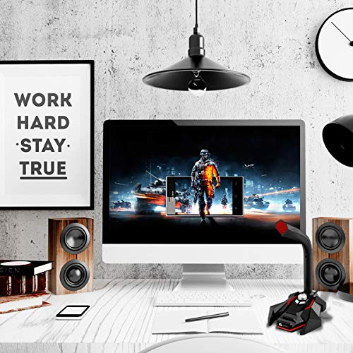 USB Computer Microphone, Slopehill Plug & Play Home Studio Omnidirectional  Condenser Desktop Mic, Mute Button with LED Indicator, Compatible with