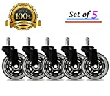 Universal Office Chair Caster Wheels Set of 5 Heavy Duty & Safe for All Floors Including Hardwood 3' Rollerblade Rubber Replacement for Desk Floor Mats