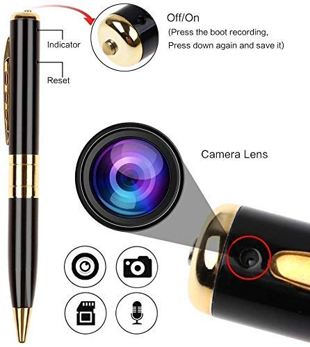 51kTm RAjNL M S TECH Spy Pen Camera 720p HD, Support 32 GB SD Card Support(not Included), Audio and Video Recording, Hidden Pen Camcorder for Home/Office/Meeting Gold & Black Color