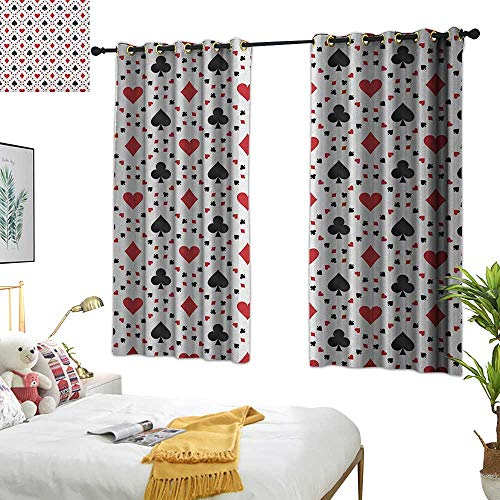Warm Family Fabric Shower Curtain Liner Casino,Poker Cards Advertising Holidays Getaways Tourist Destinations Pleasure Art Print, Red Black 84'x84',Darkening Drapes Thermal Insulated