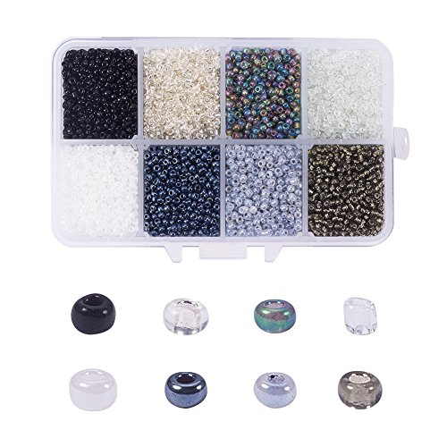 NBEADS 1 Box 8 Color 12/0 Round Glass Seed Beads 2mm Loose Spacer Beads Pony Beads with Hole for DIY Craft Bracelet Necklace Jewelry Making