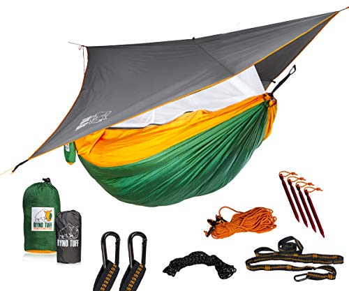 Ryno Tuff Camping Hammock with Mosquito Net And Rain Fly - Double Hammock...