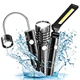 Wsky Led Work Light Flashlight, 3 in 1 Gooseneck Magnetic COB Work Light Flashlight, Water Resistant, 3x3 Modes, 360° Rotate, Best for Camping, Hiking, Reading, Emergency (Batteries Not Included)